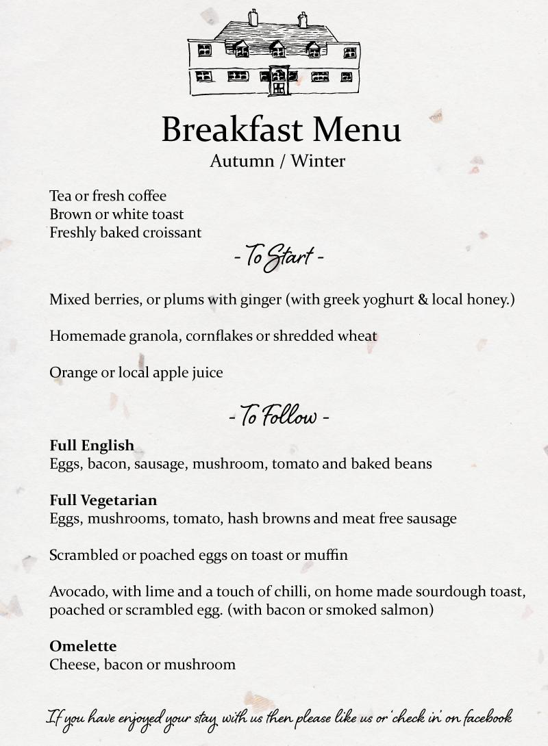 Winter Bed and Breakfast Menu Rye